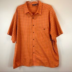 Patagonia Men orange plaid waffle cotton shirt XL